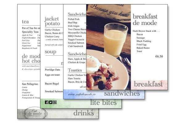 Cafe Menus  design and print of cafe menus from Rutland print Studio